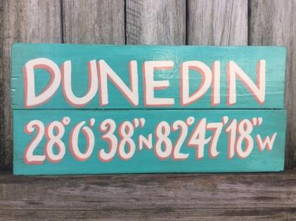 Wooden sign, aqua/coral