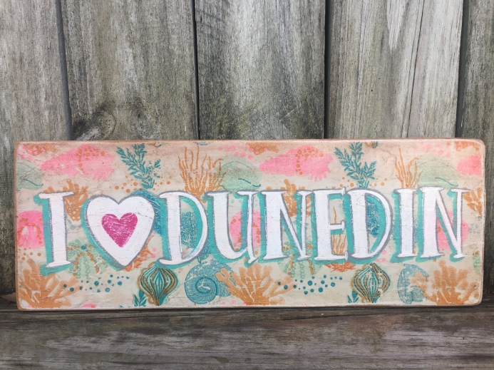 Wooden sign, sea life decoupage with heart