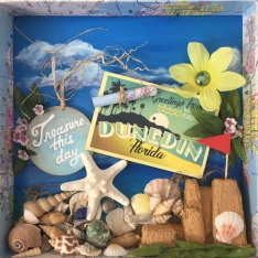 Shadowbox with beach scene