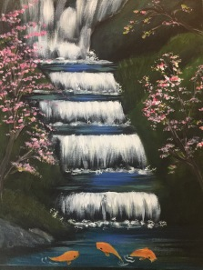 Waterfall with koi