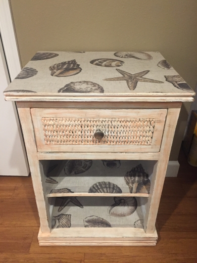 Accent table, one-drawer with decoupage seashells