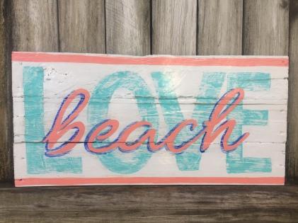wooden sign, beach LOVE